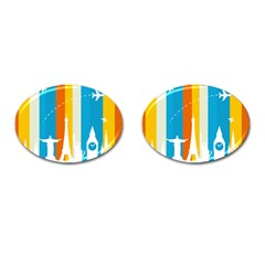 Eiffel Tower Monument Statue Of Liberty Cufflinks (oval) by Mariart