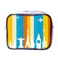 Eiffel Tower Monument Statue Of Liberty Mini Toiletries Bags by Mariart