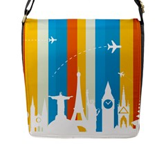 Eiffel Tower Monument Statue Of Liberty Flap Messenger Bag (l)  by Mariart