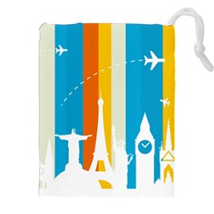 Eiffel Tower Monument Statue Of Liberty Drawstring Pouches (xxl) by Mariart
