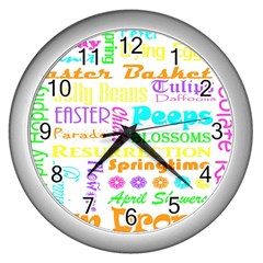 Easter Subway Blossoms Color Rainbow Chocolate Wall Clocks (silver)  by Mariart