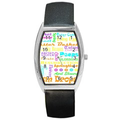 Easter Subway Blossoms Color Rainbow Chocolate Barrel Style Metal Watch by Mariart