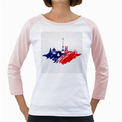Eiffel Tower Monument Statue Of Liberty France England Red Blue Girly Raglans