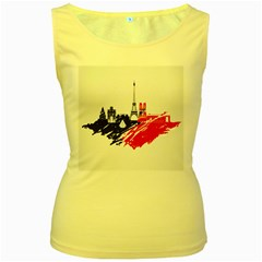 Eiffel Tower Monument Statue Of Liberty France England Red Blue Women s Yellow Tank Top