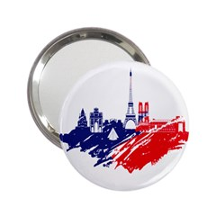 Eiffel Tower Monument Statue Of Liberty France England Red Blue 2 25  Handbag Mirrors by Mariart