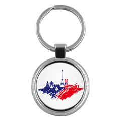 Eiffel Tower Monument Statue Of Liberty France England Red Blue Key Chains (round)  by Mariart