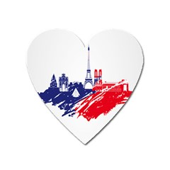 Eiffel Tower Monument Statue Of Liberty France England Red Blue Heart Magnet by Mariart