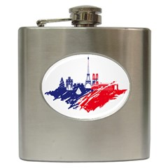 Eiffel Tower Monument Statue Of Liberty France England Red Blue Hip Flask (6 Oz) by Mariart