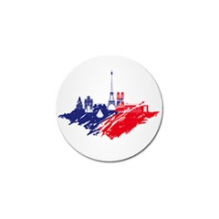 Eiffel Tower Monument Statue Of Liberty France England Red Blue Golf Ball Marker (10 Pack) by Mariart