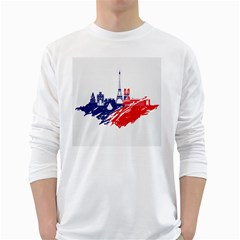 Eiffel Tower Monument Statue Of Liberty France England Red Blue White Long Sleeve T Shirts by Mariart
