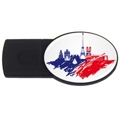 Eiffel Tower Monument Statue Of Liberty France England Red Blue Usb Flash Drive Oval (4 Gb) by Mariart