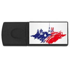 Eiffel Tower Monument Statue Of Liberty France England Red Blue Usb Flash Drive Rectangular (4 Gb) by Mariart