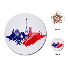 Eiffel Tower Monument Statue Of Liberty France England Red Blue Playing Cards (round)  by Mariart