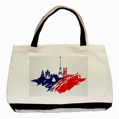 Eiffel Tower Monument Statue Of Liberty France England Red Blue Basic Tote Bag