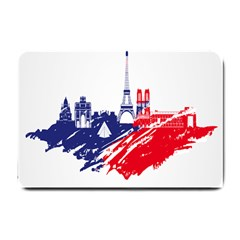 Eiffel Tower Monument Statue Of Liberty France England Red Blue Small Doormat  by Mariart