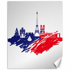 Eiffel Tower Monument Statue Of Liberty France England Red Blue Canvas 11  X 14   by Mariart