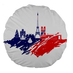 Eiffel Tower Monument Statue Of Liberty France England Red Blue Large 18  Premium Round Cushions by Mariart