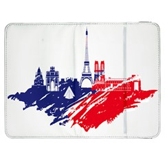 Eiffel Tower Monument Statue Of Liberty France England Red Blue Samsung Galaxy Tab 7  P1000 Flip Case by Mariart