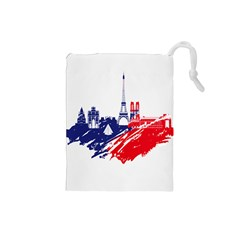 Eiffel Tower Monument Statue Of Liberty France England Red Blue Drawstring Pouches (small)  by Mariart