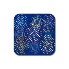 Fireworks Party Blue Fire Happy Rubber Coaster (square)  by Mariart