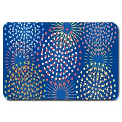 Fireworks Party Blue Fire Happy Large Doormat  by Mariart