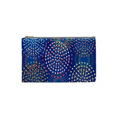 Fireworks Party Blue Fire Happy Cosmetic Bag (small)  by Mariart