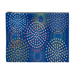 Fireworks Party Blue Fire Happy Cosmetic Bag (xl) by Mariart