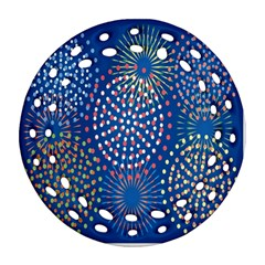 Fireworks Party Blue Fire Happy Ornament (round Filigree) by Mariart
