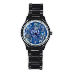 Fireworks Party Blue Fire Happy Stainless Steel Round Watch by Mariart