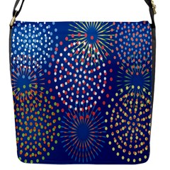 Fireworks Party Blue Fire Happy Flap Messenger Bag (s) by Mariart