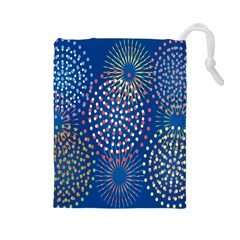 Fireworks Party Blue Fire Happy Drawstring Pouches (large)  by Mariart