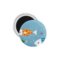 Fish Cute Swim Blue Sea 1 75  Magnets by Mariart