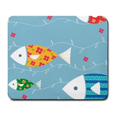 Fish Cute Swim Blue Sea Large Mousepads by Mariart