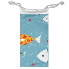 Fish Cute Swim Blue Sea Jewelry Bag by Mariart