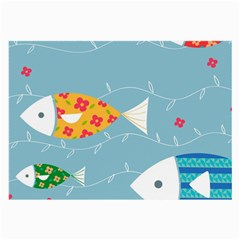 Fish Cute Swim Blue Sea Large Glasses Cloth by Mariart