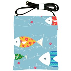 Fish Cute Swim Blue Sea Shoulder Sling Bags by Mariart