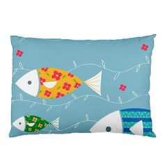 Fish Cute Swim Blue Sea Pillow Case (two Sides) by Mariart