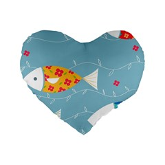 Fish Cute Swim Blue Sea Standard 16  Premium Heart Shape Cushions by Mariart