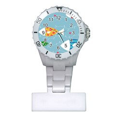 Fish Cute Swim Blue Sea Plastic Nurses Watch by Mariart