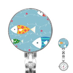 Fish Cute Swim Blue Sea Stainless Steel Nurses Watch by Mariart