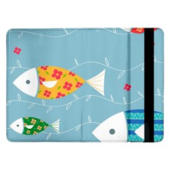 Fish Cute Swim Blue Sea Samsung Galaxy Tab Pro 12 2  Flip Case by Mariart