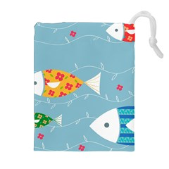 Fish Cute Swim Blue Sea Drawstring Pouches (extra Large) by Mariart