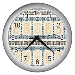 Fabric Star Flower Floral Wall Clocks (silver)  by Mariart
