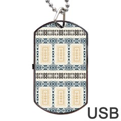 Fabric Star Flower Floral Dog Tag Usb Flash (two Sides) by Mariart