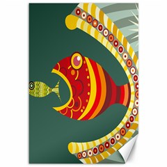 Fish Predator Sea Water Beach Monster Canvas 12  X 18   by Mariart