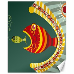 Fish Predator Sea Water Beach Monster Canvas 16  X 20   by Mariart