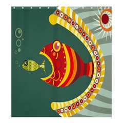 Fish Predator Sea Water Beach Monster Shower Curtain 66  X 72  (large)  by Mariart
