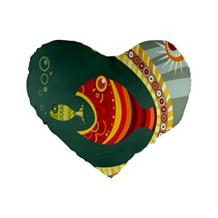 Fish Predator Sea Water Beach Monster Standard 16  Premium Flano Heart Shape Cushions by Mariart