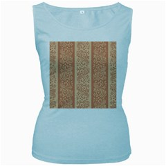 Flower Floral Leaf Frame Star Brown Women s Baby Blue Tank Top by Mariart