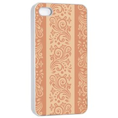 Flower Floral Leaf Frame Star Brown Apple Iphone 4/4s Seamless Case (white) by Mariart